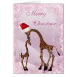 Niedliche Mamma-u. Baby-Giraffen-Weihnachtskarte Grußkarten