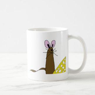 Niedliche Maus und Käse Kaffeetasse