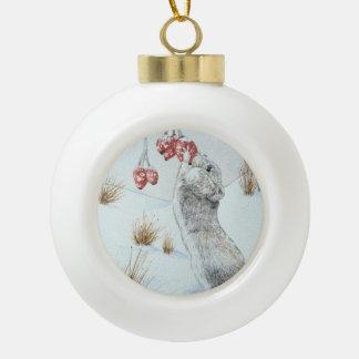 Niedliche Maus und rote Keramik Kugel-Ornament