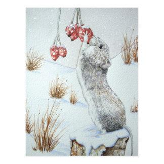 Niedliche Maus und rote Postkarte