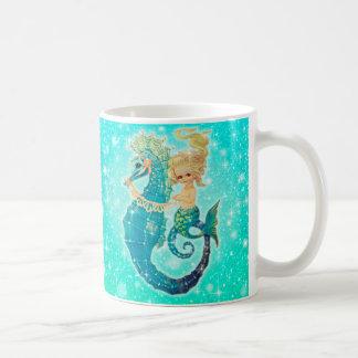 Niedliche Meerjungfrau-Seepferd-Schein-Tasse Kaffeetasse