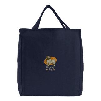 Niedliche Mops-HundeTaschen-Tasche Bestickte Tragetasche