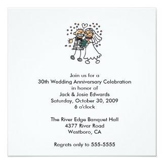 Niedliche Paar-Jahrestags-Einladung Quadratische 13,3 Cm Einladungskarte