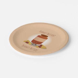 Niedliche Papierplatte des Erdnussbutter-Glas-| Pappteller