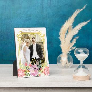 Niedliche personalisierte Blumengrenze Fotoplatte