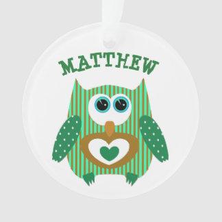 Niedliche personalisierte grüne Eule mit Ornament