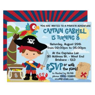Niedliche Piraten-Geburtstags-Einladungen Karte