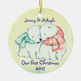 """Niedliche polare Bären in den Schals """"unser erstes Keramik Ornament"""