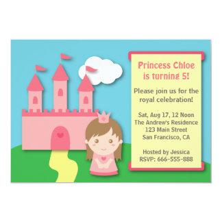 Niedliche Prinzessin und Schloss-Geburtstags-Party 12,7 X 17,8 Cm Einladungskarte