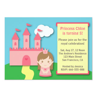 Niedliche Prinzessin und Schloss-Geburtstags-Party Einladung