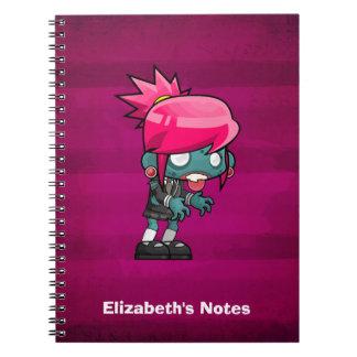 Niedliche Punkfelsen-Zombie-Mädchen-Illustration Notizblock