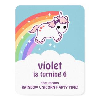 Niedliche Regenbogenunicorn-Geburtstags-Party Karte