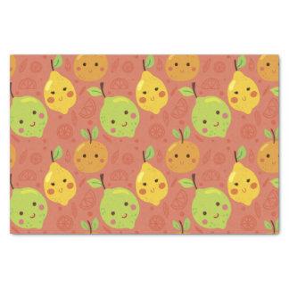 Niedliche reizende Cartoon-Orange, Zitrone und Seidenpapier