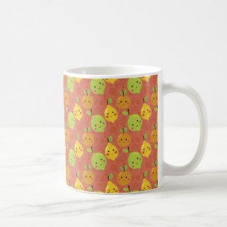 Niedliche reizende Cartoon-Orange, Zitrone und Tasse