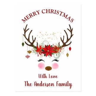 Niedliche Ren-Weihnachtsfeiertags-Karte Postkarte