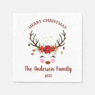 Niedliche Ren-Weihnachtsfeiertags-Party-Servietten Papierserviette