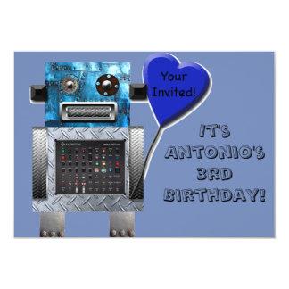 Niedliche Roboter-Geburtstags-Karten-Einladung Karte
