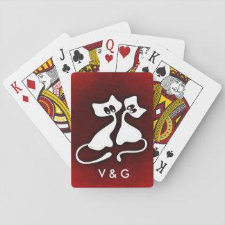 Niedliche romantische Katzenpaare in der Liebe Spielkarten