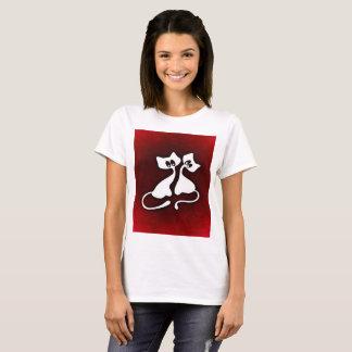 Niedliche romantische Kunst des Katzenpaart-shirts T-Shirt