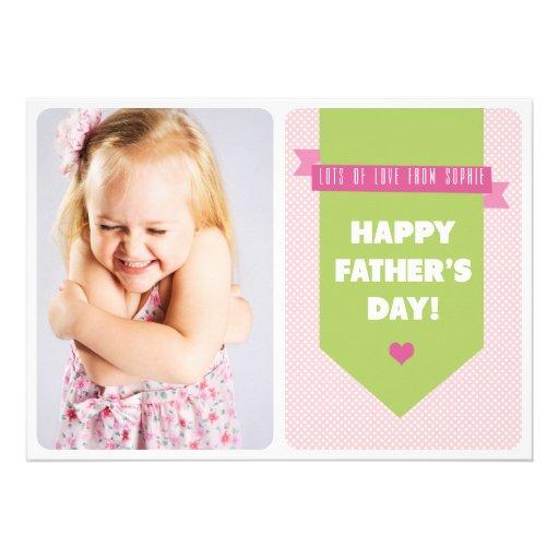 Niedliche rosa der Vatertags-flache Karte der Individuelle Ankündigungskarte
