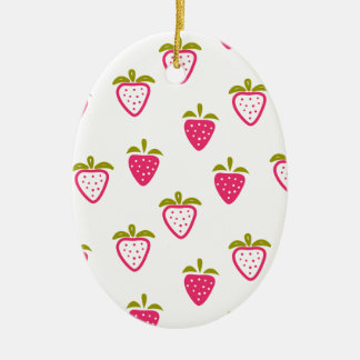 Niedliche rosa Erdbeere Ovales Keramik Ornament