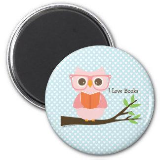 Niedliche rosa Eulen-Lesung Runder Magnet 5,7 Cm