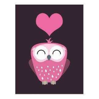 Niedliche rosa Eulen-und Liebe-Herz-Postkarten Postkarte