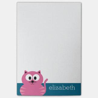 Niedliche rosa fette Katze - blauer Hintergrund Post-it Klebezettel