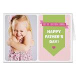 Niedliche rosa Foto-der Polka-Punkt-| der Vatertag Grußkarten