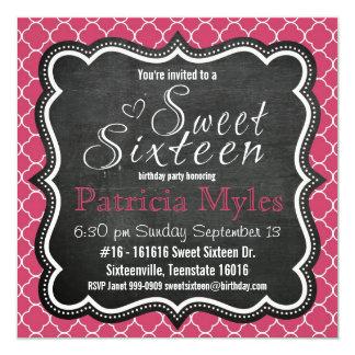 Niedliche rosa Glitter-Tafel und Zebra-Bonbon 16 Quadratische 13,3 Cm Einladungskarte