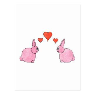 Niedliche rosa Kaninchen mit roten Liebe-Herzen Postkarte