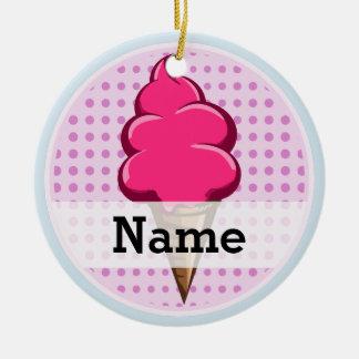 Niedliche rosa personalisierte Eiscreme für Keramik Ornament
