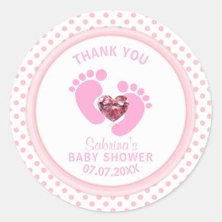 Niedliche rosa Polka-Punkt-Baby-Dusche/besprühen Runder Aufkleber