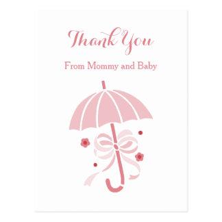 Niedliche rosa Regenschirm-und Bogen-Baby-Dusche Postkarte