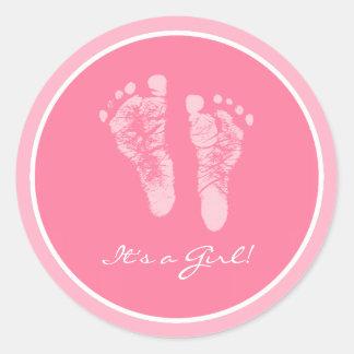 Niedliche rosa seine Baby-Abdrücke eine Runder Aufkleber