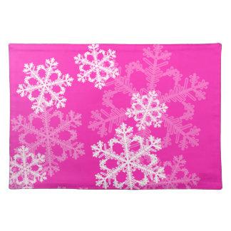 Niedliche rosa und weißes Weihnachtsschneeflocken Tischset