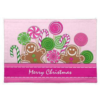 Niedliche rosa Weihnachtslebkuchen Stofftischset