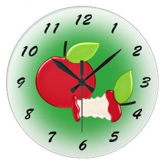 Niedliche rote Apfel-Küche Große Wanduhr