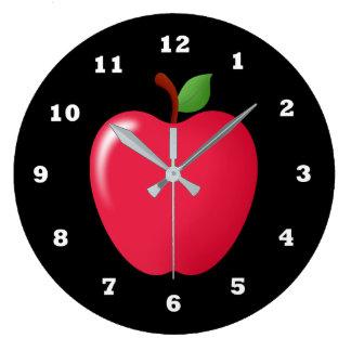 Niedliche rote Apfelfrucht-Zuhauseküchen-Dekoruhr Große Wanduhr