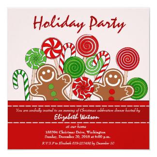 Niedliche rote Weihnachtslebkuchen Karte