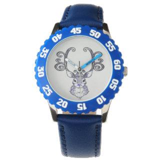 Niedliche Rotwilduhr Bluenoser blauen Nase Rens Armbanduhr