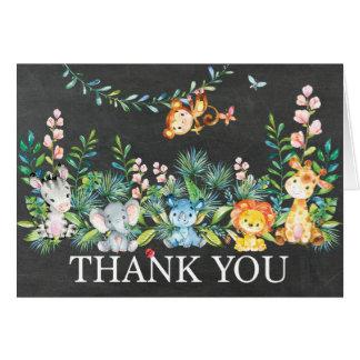 Niedliche Safari-Dschungel-Baby-Dusche danken Mitteilungskarte