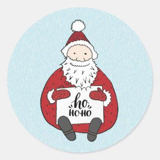 Niedliche Sankt, die Weihnachten zeichnet Runder Aufkleber