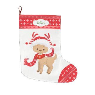 Niedliche Sankt-Rotwild mit dem Schal Großer Weihnachtsstrumpf