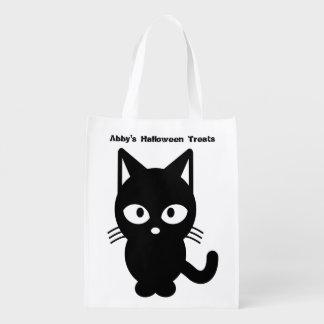 Niedliche schwarze Katze Halloweens fertigen es Wiederverwendbare Einkaufstasche