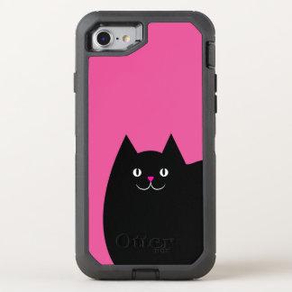 Niedliche schwarze Katze mit einer hellen rosa OtterBox Defender iPhone 7 Hülle