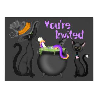 Niedliche schwarze Katzen-Baby-Duschen-Einladung 11,4 X 15,9 Cm Einladungskarte