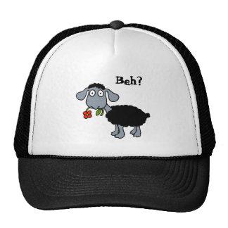 Niedliche schwarze Lamm-Schafe mit der roten Blume Baseballkappe