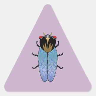 Niedliche schwarze Zikade Dreieckiger Aufkleber