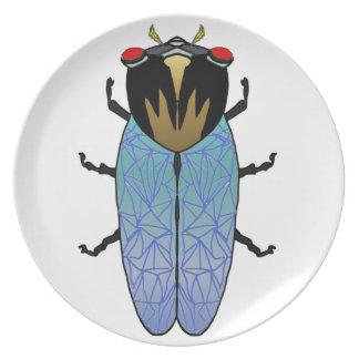 Niedliche schwarze Zikade Melaminteller